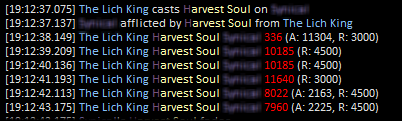 WoL section, showing Harvest Soul damage on a player