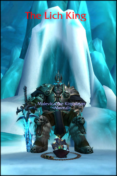 Malevica the Kingslayer sitting in front of the Lich King