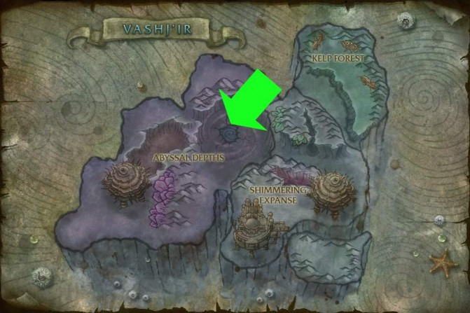 Map of Vash'ir, with the Abyssal Maw entrance indicated by a green arrow