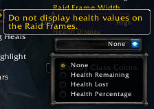 Health Display options for the new raid frames