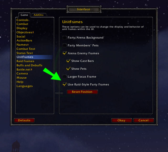 "Screenshot of the Options-Interface-Unitframes menu, with the ""Use raid-style party frames"" option ticked and indicated by a big green arrow"