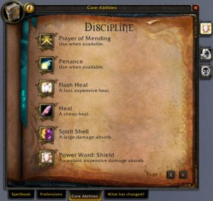 Priest Core Abilities Tab (Build 15677)